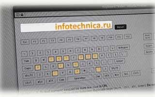 Тестирование работоспособности клавиатуры (диагностика с помощью Keyboard test utility)